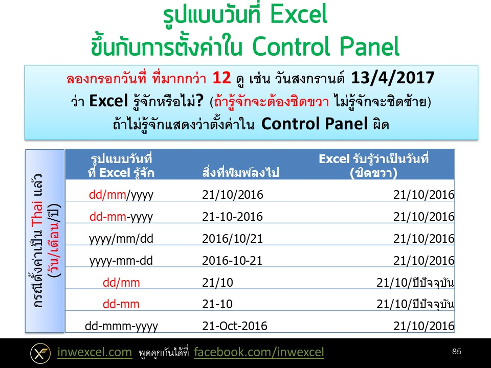 การทำงานเกี่ยวกับวันและเวลา (Date & Time) ใน Excel 1