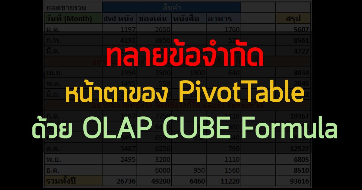 วิธีทลายข้อจำกัดหน้าตาของ PivotTable ด้วย OLAP CUBE Formula 3