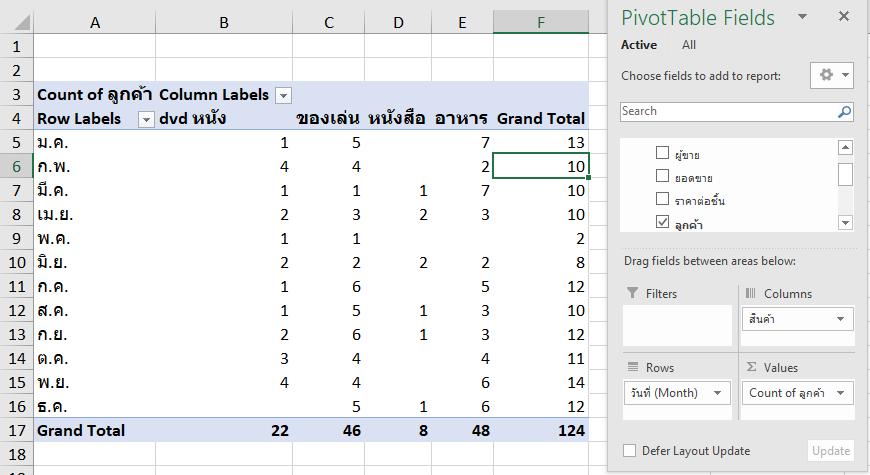 วิธีนับข้อมูลใน Pivot แบบไม่นับตัวที่ซ้ำกัน (Distinct Count) 3