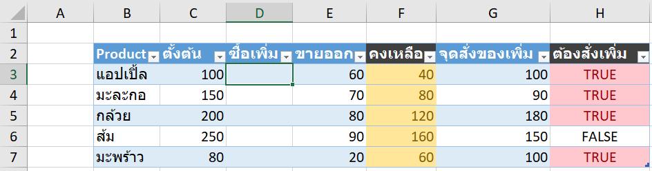 สอนทำไฟล์ Excel บริหาร Stock สินค้าคงคลัง : Version 2 แยกตารางซื้อขาย 13