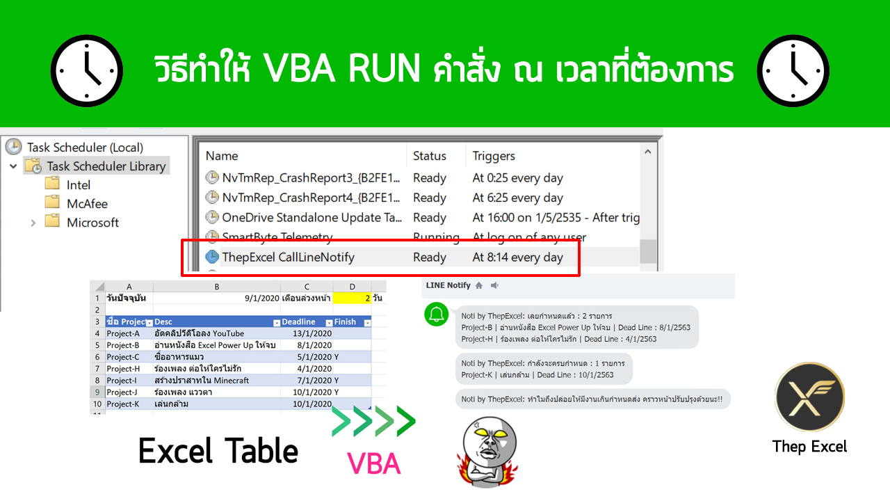 วิธีทำให้ VBA Run คำสั่ง ณ เวลาที่ต้องการ