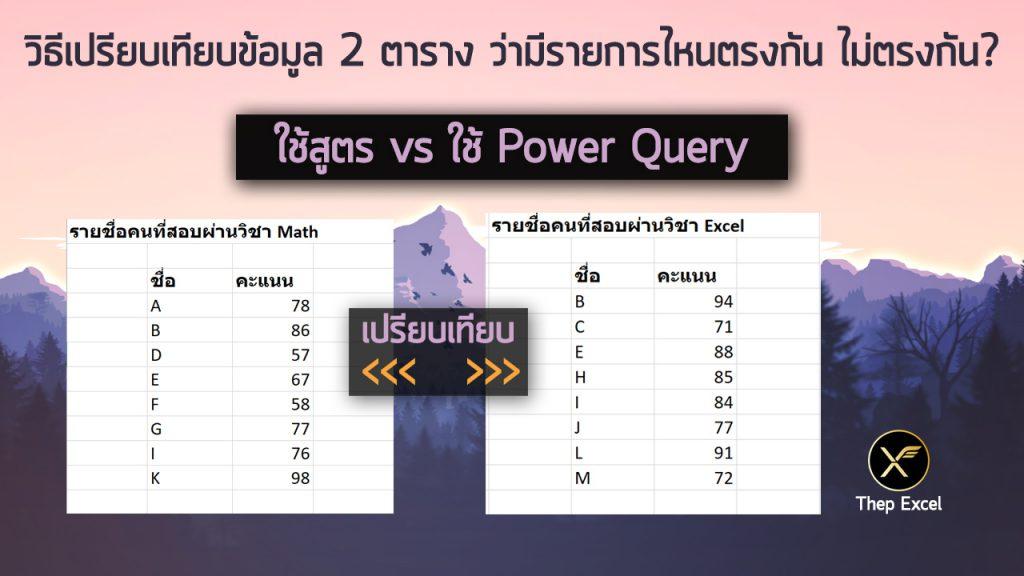 วิธีเปรียบเทียบข้อมูล 2 ตาราง ว่ามีรายการไหนตรงกัน ไม่ตรงกัน? 2