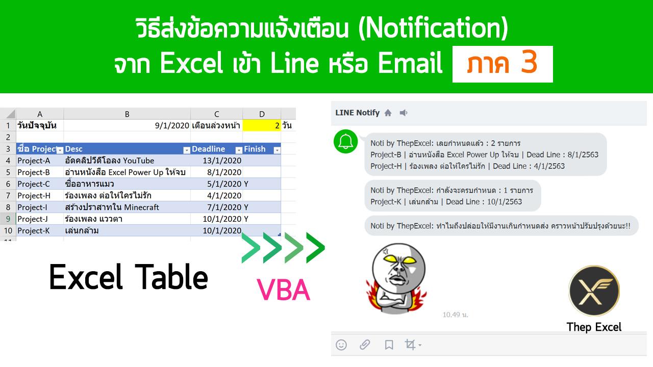 วิธีส่งข้อความแจ้งเตือน (Notification) จาก Excel เข้า Line หรือ Email : ภาค 3 1