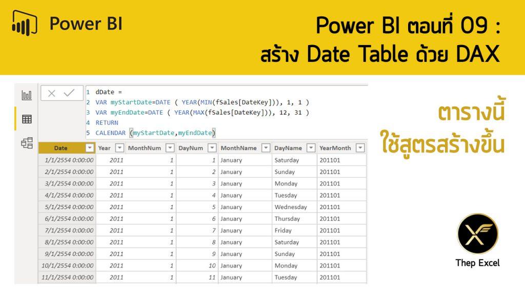 Power BI ตอนที่ 09: สร้าง Date Table ด้วย DAX 1