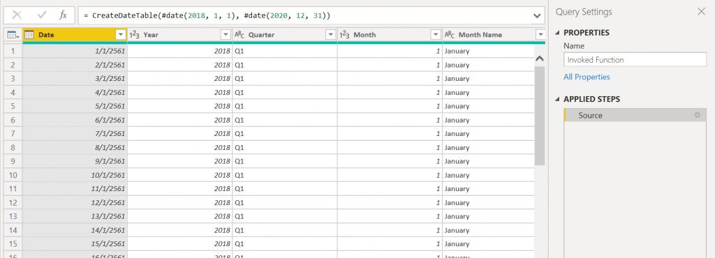 สูตรสำเร็จรูปสำหรับสร้าง Date Table ด้วย DAX และ Power Query M Code 4