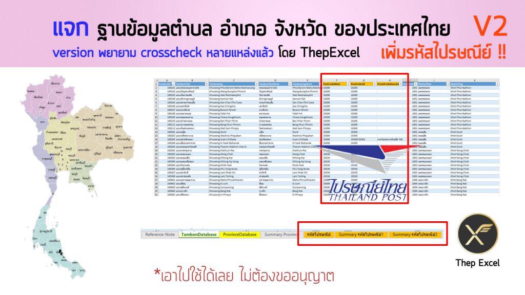 ฐานข้อมูลตำบล อำเภอ จังหวัด ของประเทศไทย V2: เพิ่มรหัสไปรษณีย์ 10