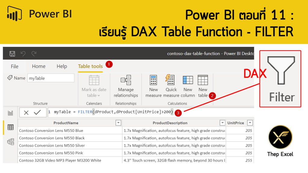 Power BI ตอนที่ 11: เรียนรู้ DAX Table Function - FILTER 1
