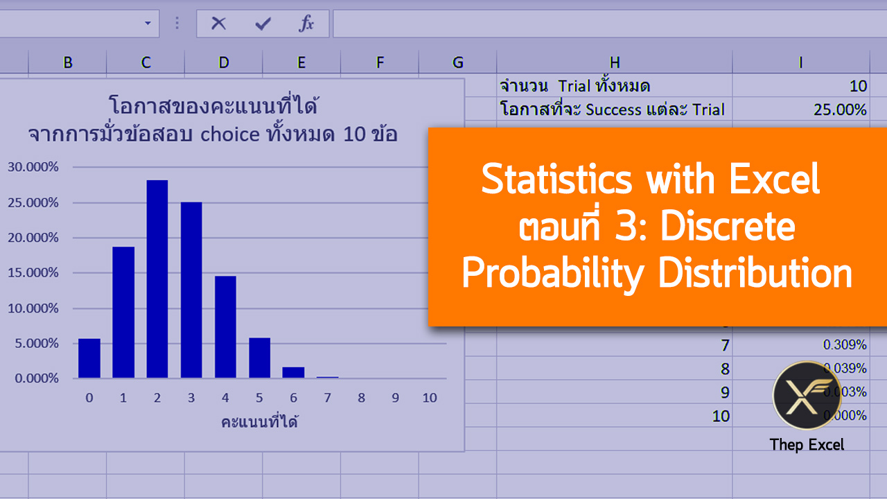 Statistics with Excel ตอนที่ 3 : Discrete Probability Distribution