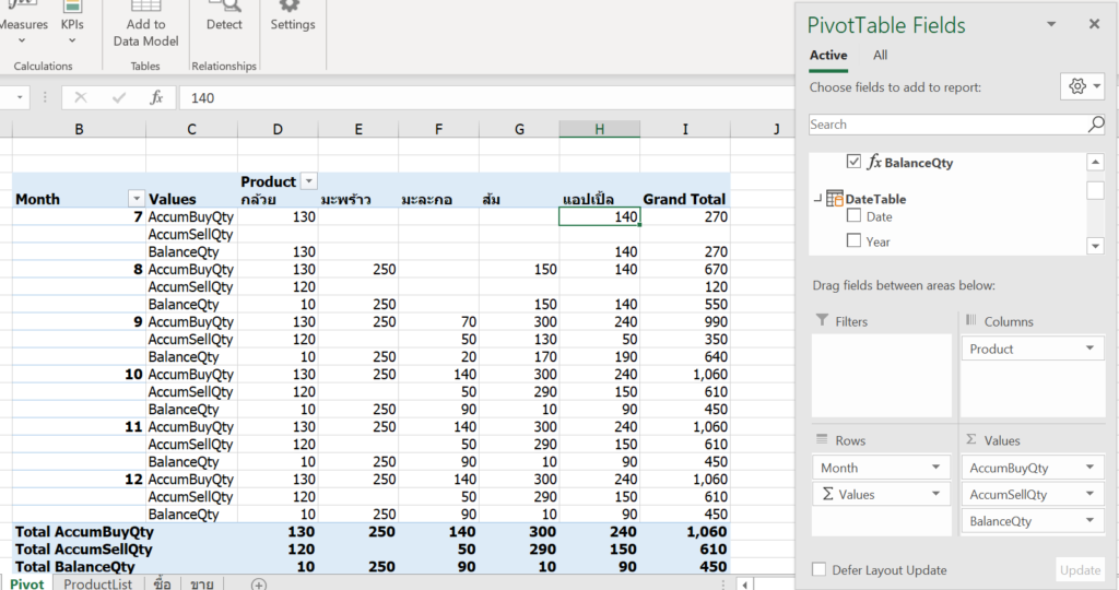 Inventory Management ทำรายงานสินค้าคงคลังด้วย  DAX และ Data Model ใน Excel 17