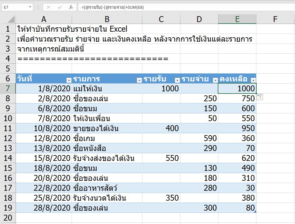 วิธีทำบันทึกรายรับรายจ่าย อย่างง่าย (แต่เจ๋ง) ใน Excel 5