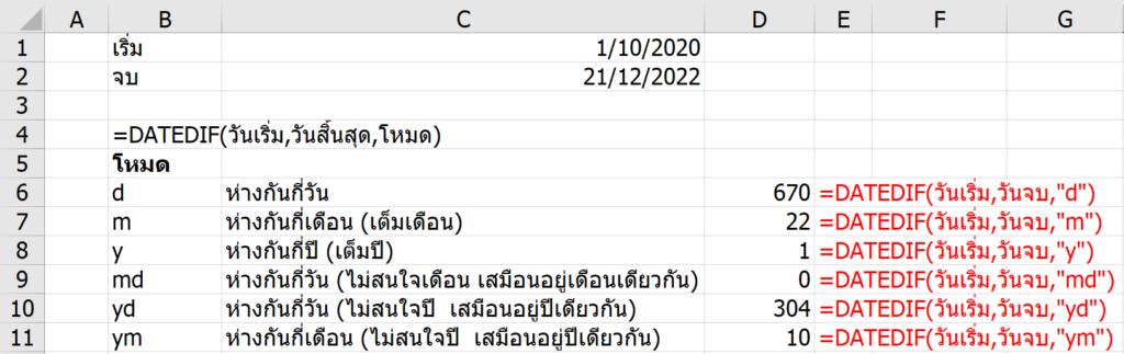 อธิบายการทำงาน DATEDIF ใน Excel และแนวทางแก้ไขให้ได้ผลลัพธ์ดั่งใจ 3