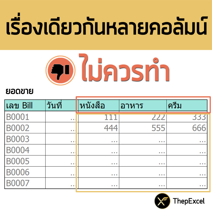 การออกแบบตารางบันทึกข้อมูลที่ดีใน Excel (ลักษณะของ Database ที่ถูกต้อง) 3