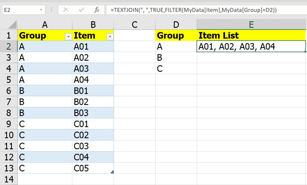 หลากวิธีเอาข้อมูลในกลุ่มเดียวกันไปรวมเป็นข้อความเดียวกัน 4