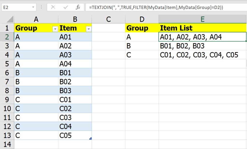 หลากวิธีเอาข้อมูลในกลุ่มเดียวกันไปรวมเป็นข้อความเดียวกัน 5